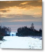 Vibrant Winter Sunrise Landscape Over Snow Covered Countryside Metal Print
