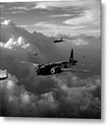 Vickers Wellingtons No 75 Squadron Black And White Version Metal Print
