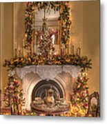 Victorian Christmas By The Fire Metal Print