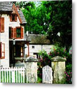 Victorian Home With Open Gate Metal Print