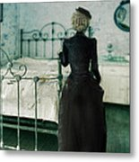 Victorian Lady In A Bedroom Metal Print