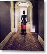 Victorian Lady In Hallway Metal Print