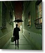 Victorian Man With Top Hat Carrying A Suitcase And Umbrella Walking In The Narrow Street At Night Metal Print