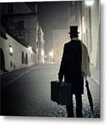 Victorian Man With Top Hat Carrying A Suitcase Walking In The Old Town At Night Metal Print