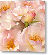 Victorian Pink Roses Bouquet Metal Print