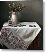Victorian Style Still Life With Pink Roses Metal Print