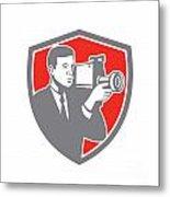 Video Cameraman Shooting Vintage Shield Retro Metal Print