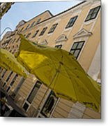 Vienna Street Life - Cheery Yellow Umbrellas At An Outdoor Cafe Metal Print