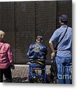 Vietnam Veterans Paying Respect To Fallen Soldiers At The Vietnam War Memorial Metal Print