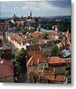 View From Above Of Old Town Tallinn  Estonia Metal Print