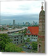 View From Temple Of The Dawn-wat Arun In Bangkok-thailand Metal Print