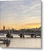 View From Waterloo Bridge Along The River Thames In London Metal Print