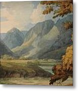 View In Borrowdale Of Eagle Crag And Rosthwaite Metal Print
