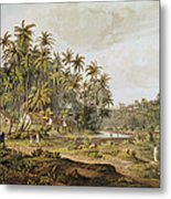 View Near Point Du Galle, Ceylon, Engraved By Daniel Havell 1785-1826 Published In 1809 Coloured Metal Print