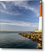 View Of A Red And White Lighthouse Metal Print