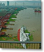 View Of A Ship On Its Side From A Bridge Near Bangkok-thailand Metal Print