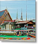 View Of A Temple From Waterway Of Bangkok-thailand Metal Print