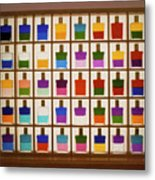 View Of Bottles Used In Aura Soma Colour Therapy Metal Print
