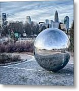 View Of Charlotte Nc Skyline From Midtown Park Metal Print
