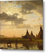 View Of Chimney Rock Ohalila .sioux Village In The Foreground Metal Print