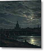 View Of Dresden By Moonlight Metal Print