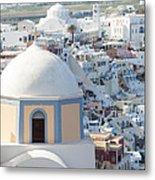 View Of Fira With Famous Church Santorini Greece Metal Print