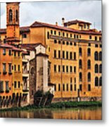 View Of Florence Along The Arno River Metal Print