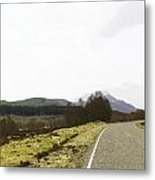 View Of Highway Running Through The Wilderness Of The Scottish Highlands Metal Print
