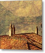 View Of Lake Como Over The Rooftop Of Villa Monastero Metal Print