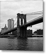View Of New York From Beneath The Brooklyn Bridge New York Metal Print