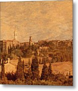 View Of Pienza And The Tuscan Landscape Metal Print