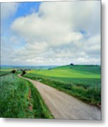 View Of Road Passing Through A Field Metal Print