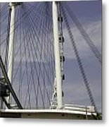 View Of Spokes Of The Singapore Flyer Along With The Base Section Metal Print