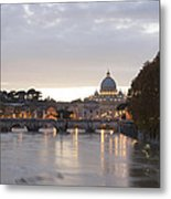 View Of St Peter's Basilica And Saint Angel Bridge Metal Print