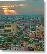 View Of Sun Setting Over Bangkok Buildings From Grand China Princess Hotel In Bangkok-thailand Metal Print