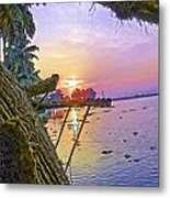 View Of Sunrise From A Houseboat Metal Print