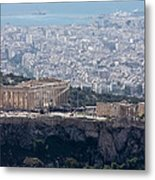 View Of The Acropolis From Lykavittos Hill Metal Print