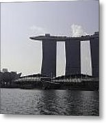 View Of The Artscience Museum And The Marina Bay Sands Resort Metal Print