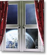 View Of The Earth Through A Window With Curtains Metal Print