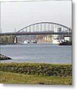 View Of The John Frost Bridge In Arnhem Netherlands Metal Print
