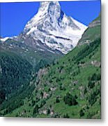 View Of The Matterhorn And The Town Metal Print