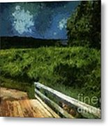View Of The Night Sky From The Old Bridge Metal Print