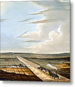 View Of The Railway Across Chat Moss Metal Print