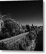 view of the river corrib looking back towards the kings gap Galway city county Galway Republic of Ireland Metal Print