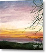 View Of The Valley At Dusk Metal Print
