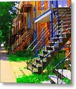 View Of Verdun Steps Stairs Staircases Winding Through Summer  Montrealstreet Scenes Carole Spandau Metal Print