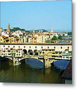 View On Ponte Vecchio From Uffizi Gallery Metal Print