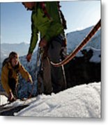 View Past Rope To Climbers Helping Team Metal Print