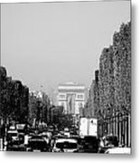 View Up The Champs Elysees Towards The Arc De Triomphe In Paris France  Metal Print