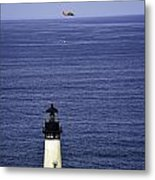 Viewing The Newport Lighthouse Metal Print